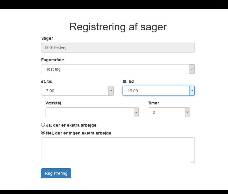 Registrering af tid og fagområde